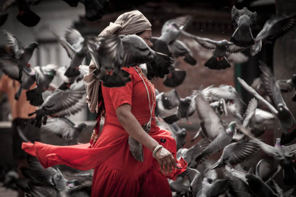 Woman with Red dress in Katmandu