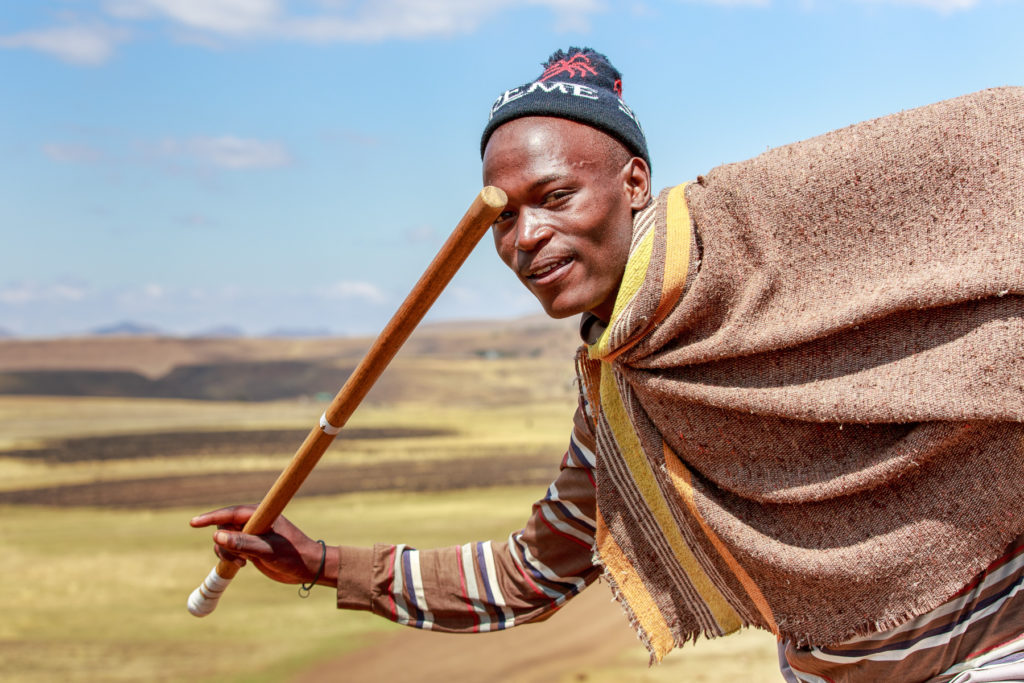 A basotho man with a fighting stick