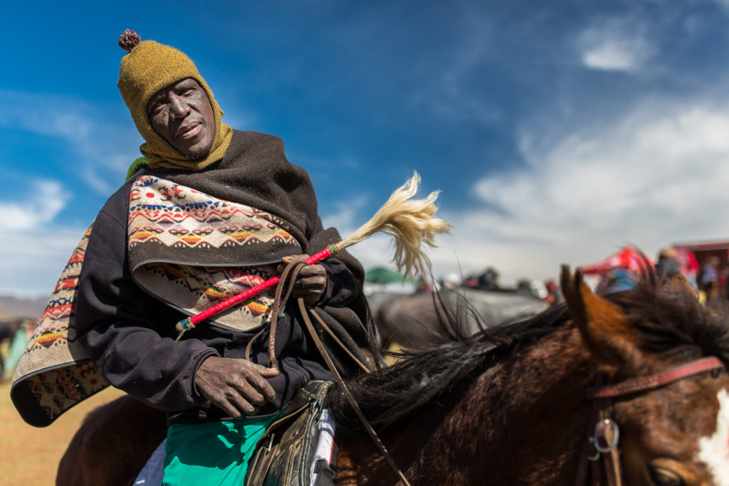 Basotho man on a horse came to attend the famous horse race