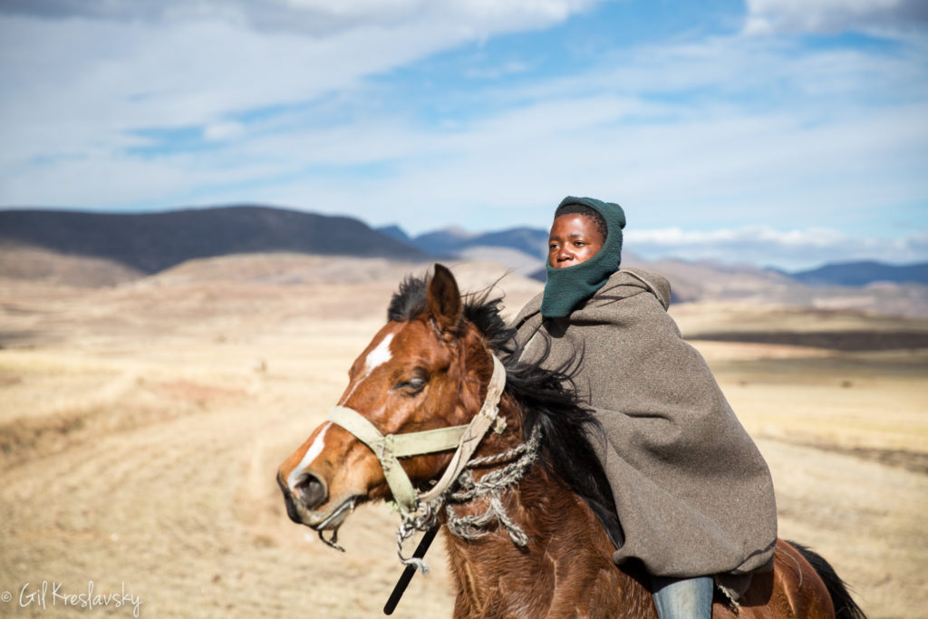 A Basotho shepherd boy galloping on his horse